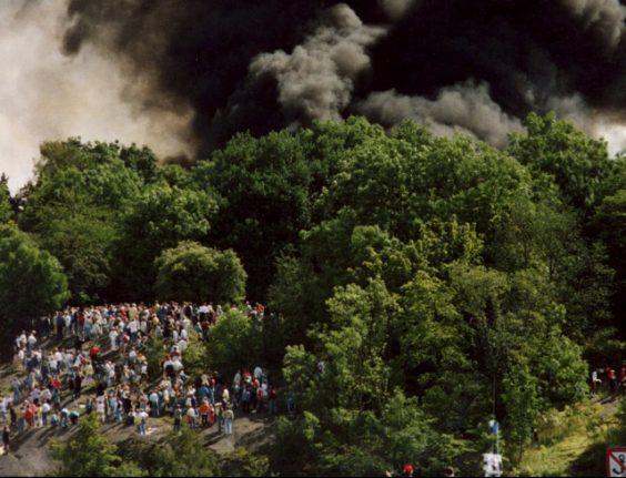 The shocking day a fighter jet crashed in central Stockholm