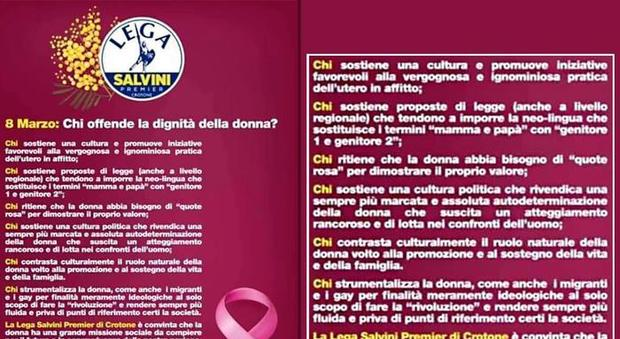 League Womens' Day leaflet: womens' 'natural role is supporting the family'