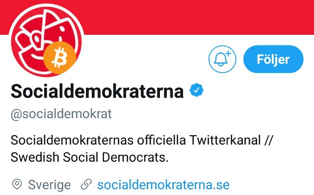 Sweden's ruling party's Twitter account hijacked