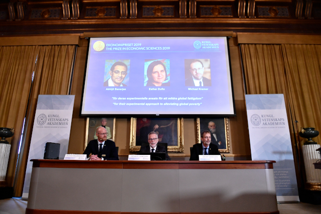 Trio share Nobel Economics Prize for 'alleviating global poverty'