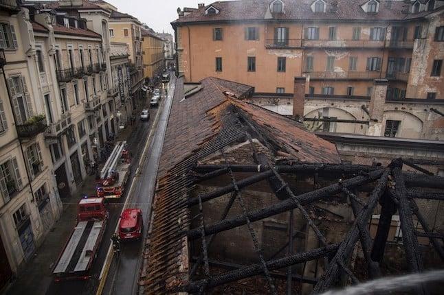 PHOTOS: Fire at Turin's Royal Horse Yard, an Italian Unesco site