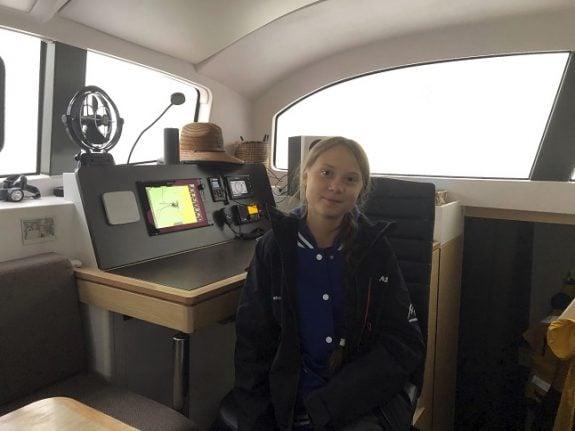 Swedish climate activist Greta Thunberg sets sail for Europe
