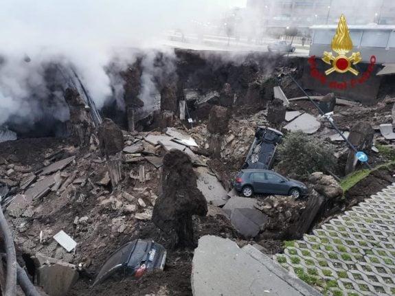 Coronavirus hospital in Naples evacuated after huge sinkhole opens up