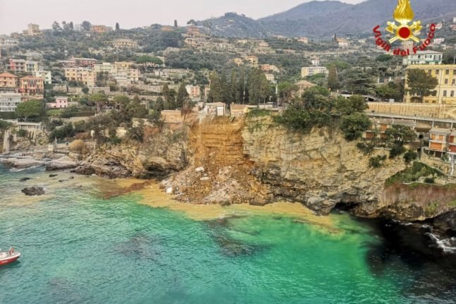 VIDEO: The moment a cliff-top cemetery fell into the sea on the Italian riviera