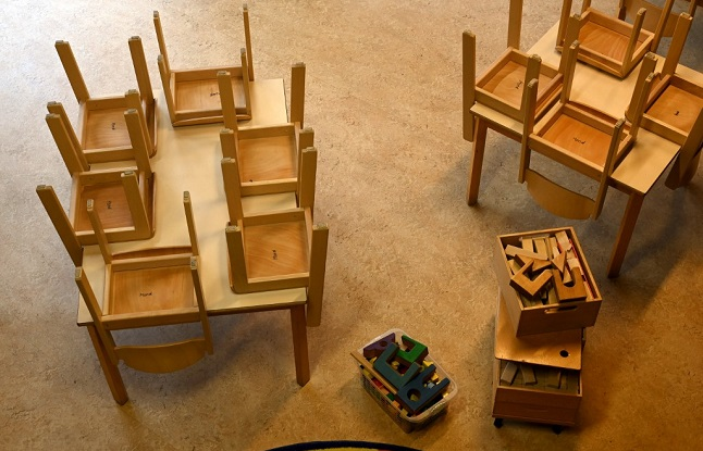 Tables and chairs in a closed kindergarten
