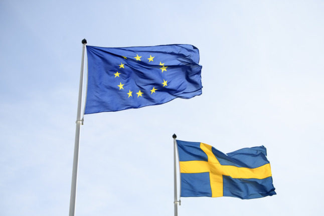 Swedish flag and EU flag